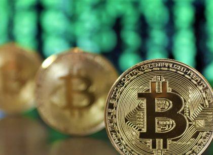 Bitcoins on a table