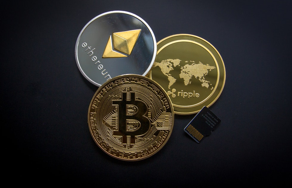 Bitcoin, Ethereum and Ripple coins